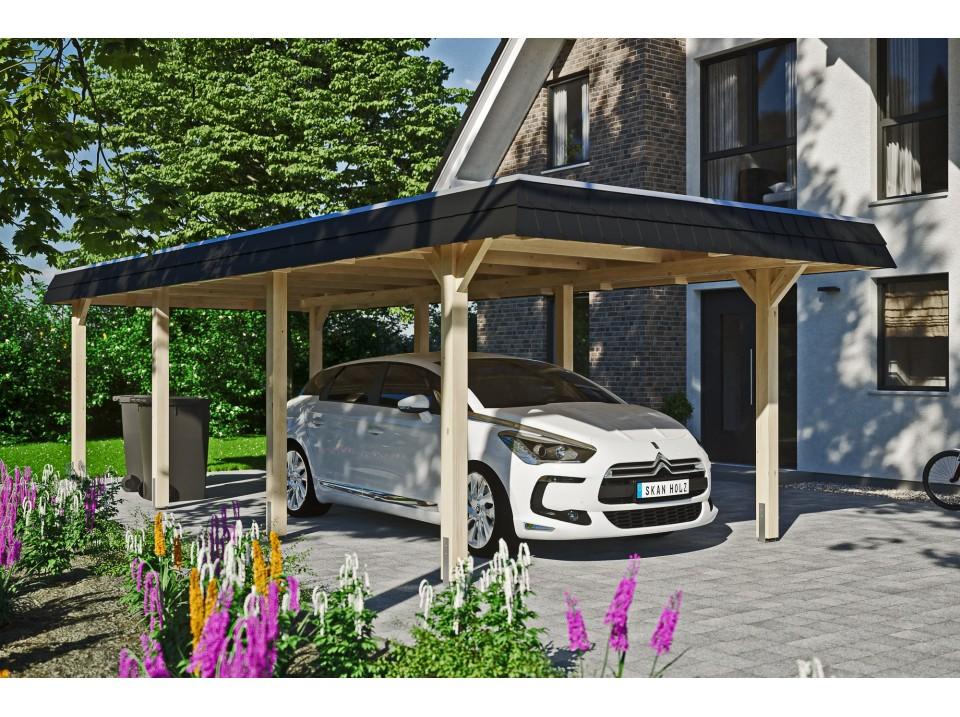 garage bois 2 voitures sanna 44mm direct abris. Black Bedroom Furniture Sets. Home Design Ideas