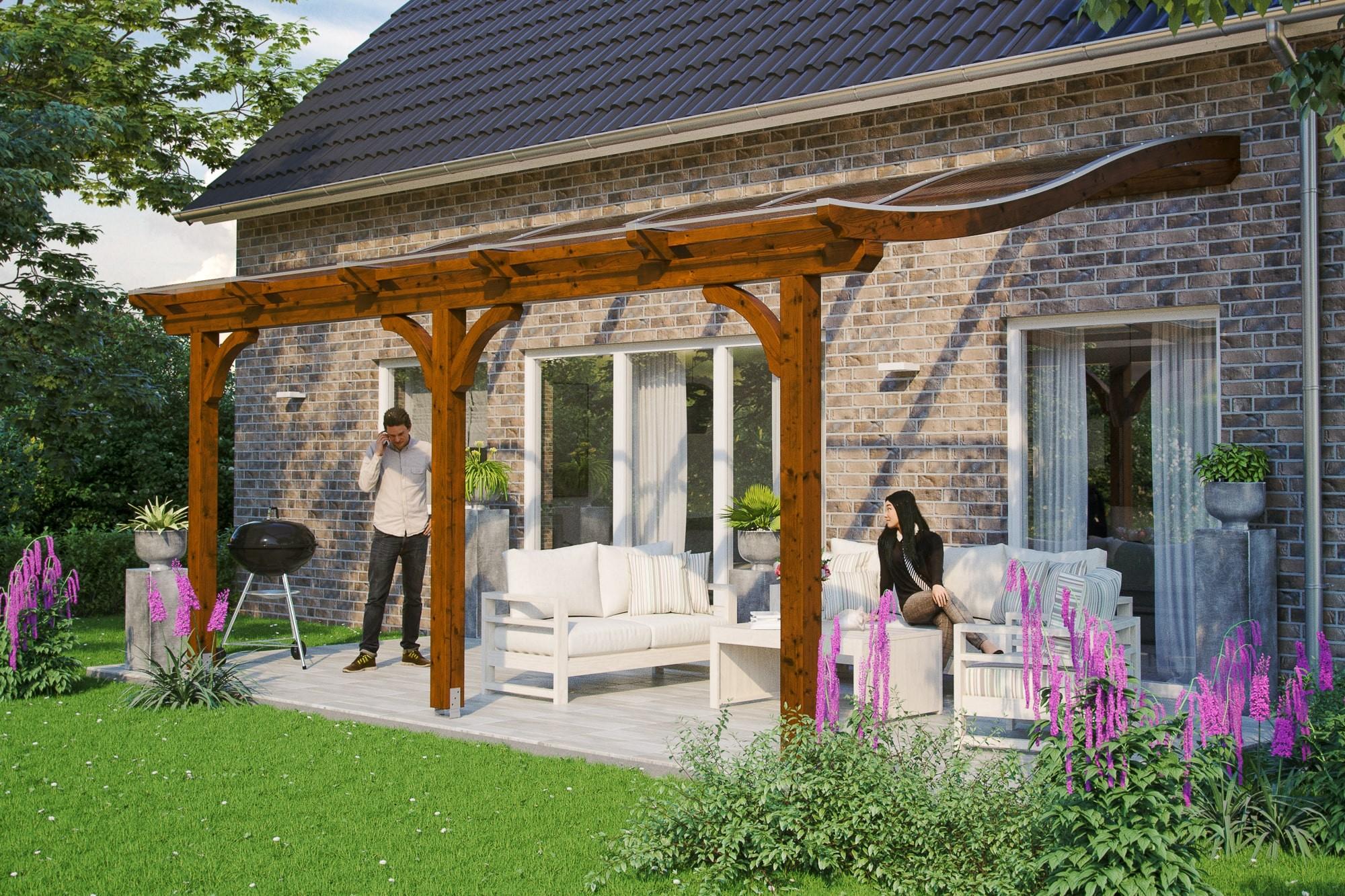 abri de terrasse portofino 4x4 m avec rideaux prot gez vous du soleil. Black Bedroom Furniture Sets. Home Design Ideas