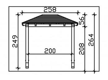 Carport en bois FRIESLAND - 314 x 708