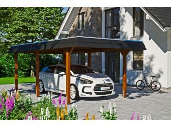 Garage bois 2 voitures HELSINKI 44mm - portes sectionnelles, garage-bois - Direct-abris