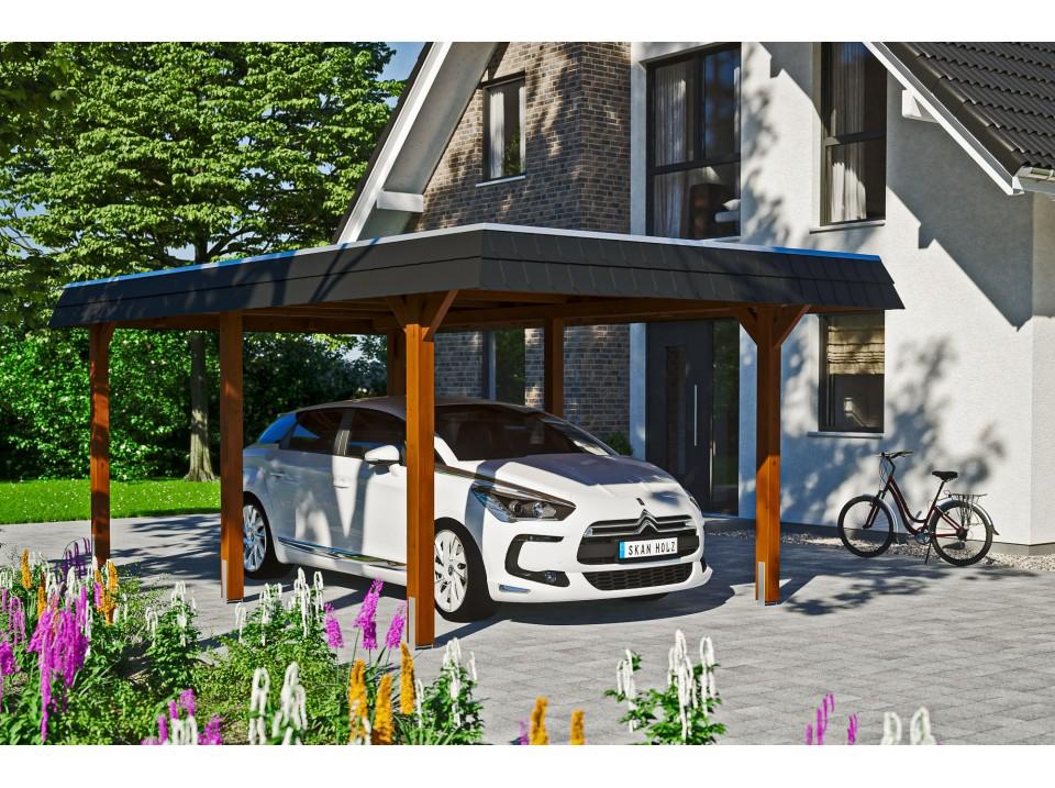 garage bois 2 voitures helsinki 44mm  portes sectionnelles, garage