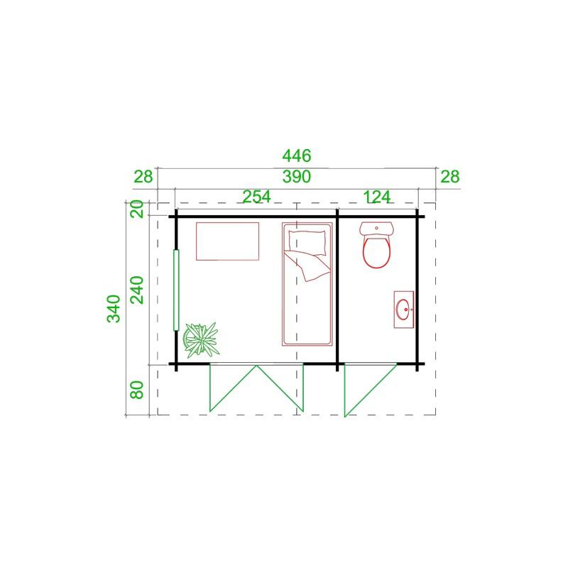 Porte de service suppl semi vitree pour abri 34mm for Porte de service en bois vitree