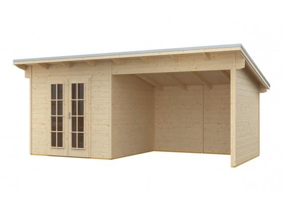 carport en bois toit plat
