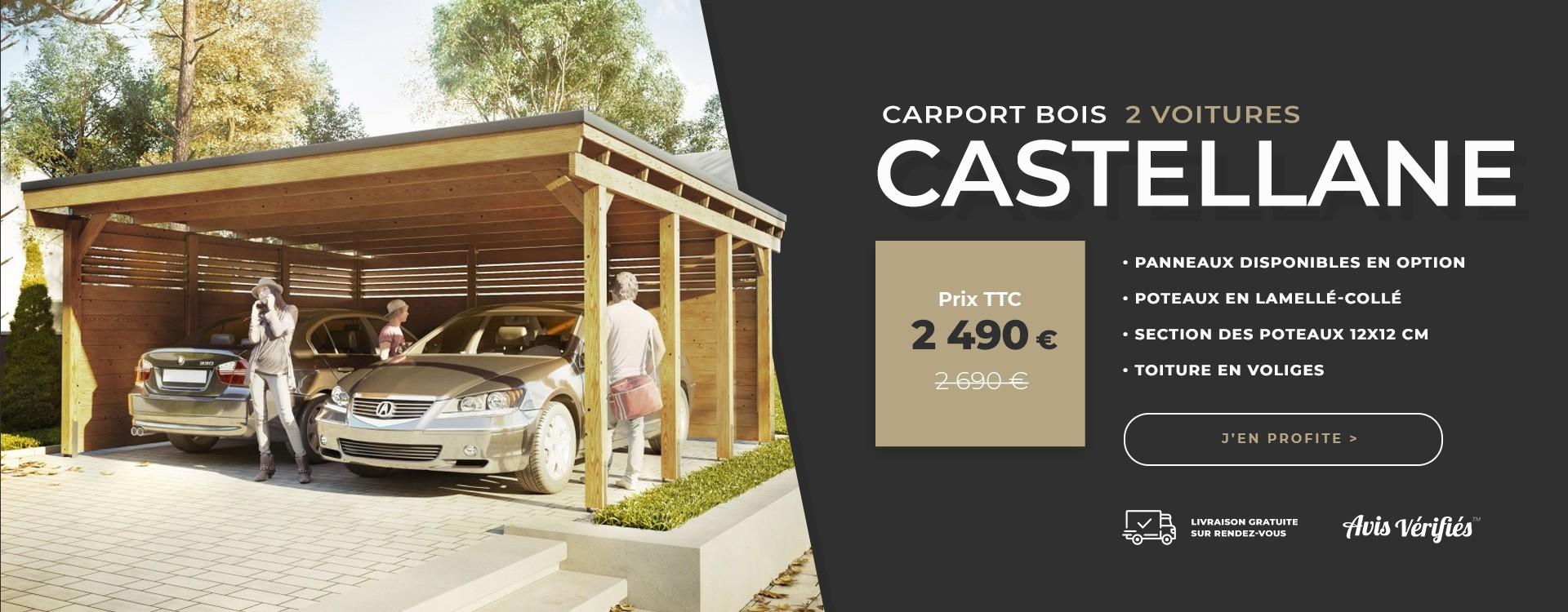 carport bois deux voitures castellane